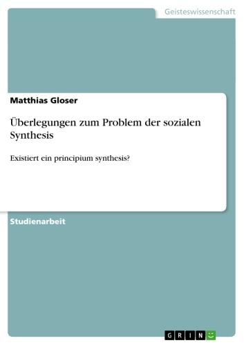 Überlegungen zum Problem der sozialen Synthesis